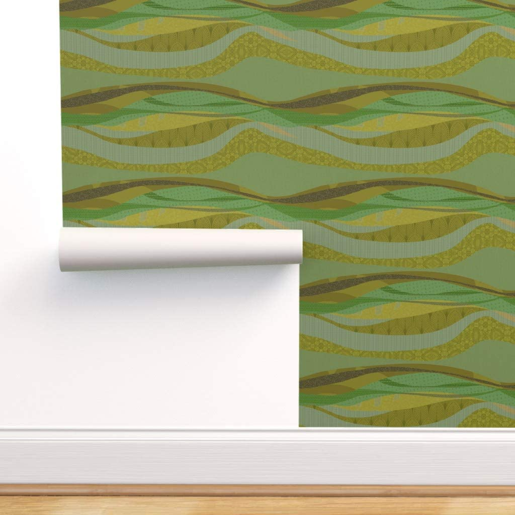 Peel-and-Stick Removable Wallpaper - Olive Avocado Green Rolling Hill Wave Modern Minimal Mod by Wren Leyland - 24in x 72in Woven Textured Peel-and-Stick Removable Wallpaper Roll