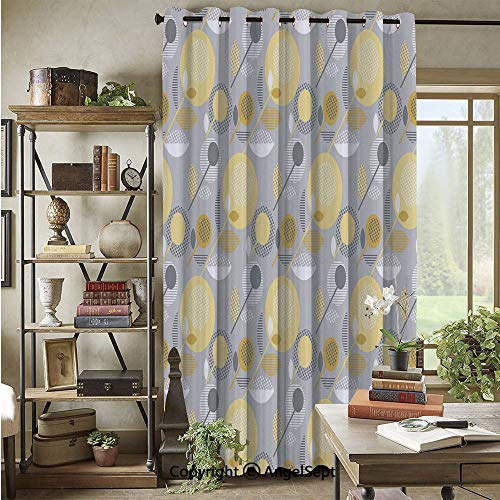 60s Silk Black - Blackout Curtains with Grommet,Abstract Geometric 60s Pattern in Modern Design and Pastel Colors Decorative,72x96inch(1 Panels),Pale Yellow Pale Grey