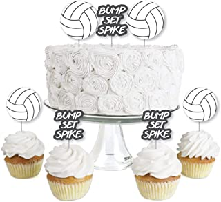 product image for Bump, Set, Spike - Volleyball - Dessert Cupcake Toppers - Baby Shower or Birthday Party Clear Treat Picks - Set of 24