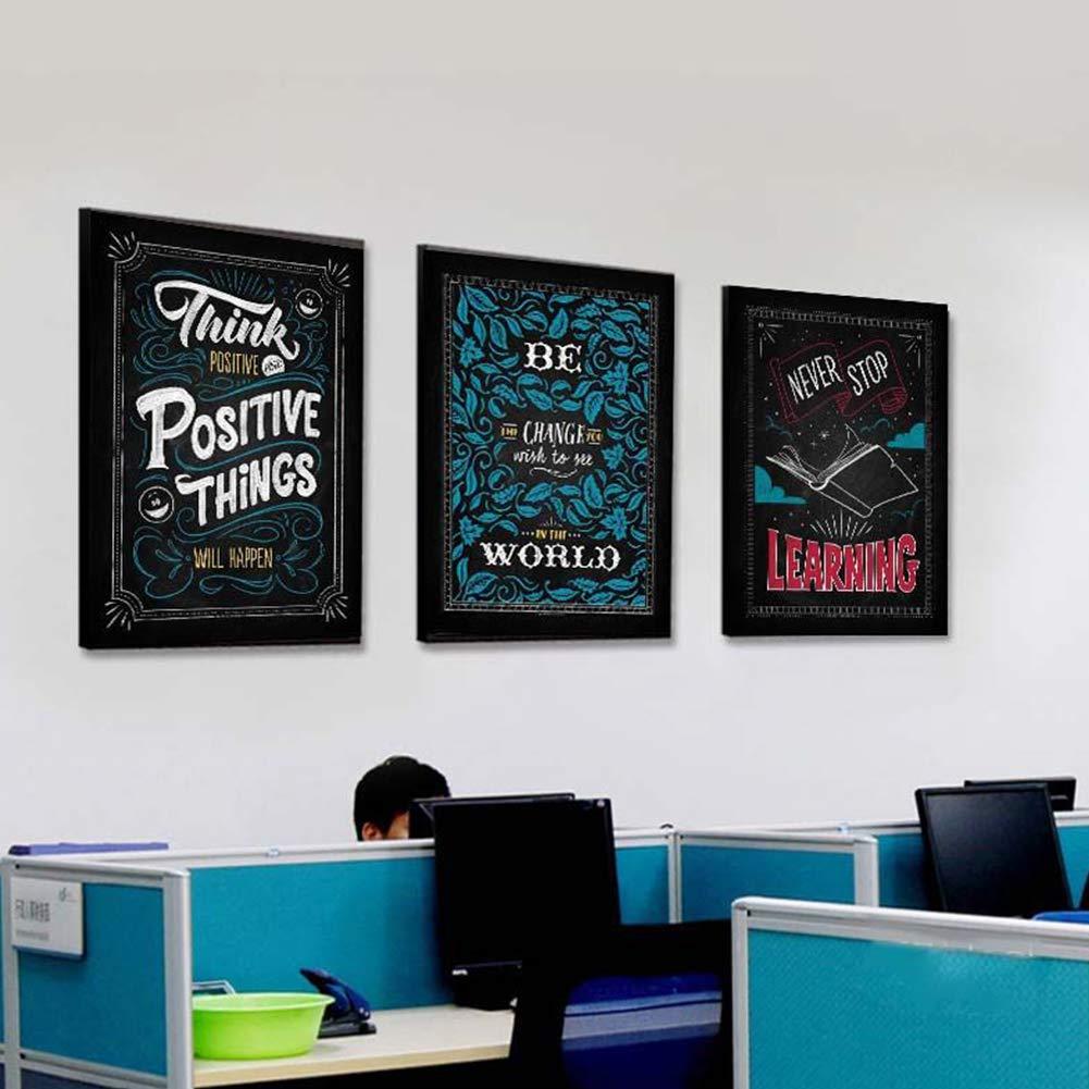 DierCosy Las Palabras Inspiradoras decoración de la Pared Pintura al óleo Lámina Juego de 3 Piezas de Pinturas de la Junta Negro de Pinturas de Oficina en ...