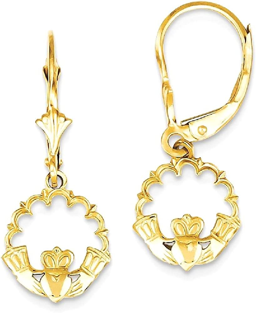 14k Yellow Gold Irish Claddagh Celtic Knot In Circle Leverback Earrings Lever Back Drop Dangle Fine Jewelry For Women Gifts For Her 61PL5jZDh9LUL1000_