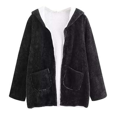 ❤ Abrigo de Felpa, Mujeres Casual Hombro Caído Bolsillo Doble con Capucha Escudo Blusa Outwear Absolute: Amazon.es: Ropa y accesorios