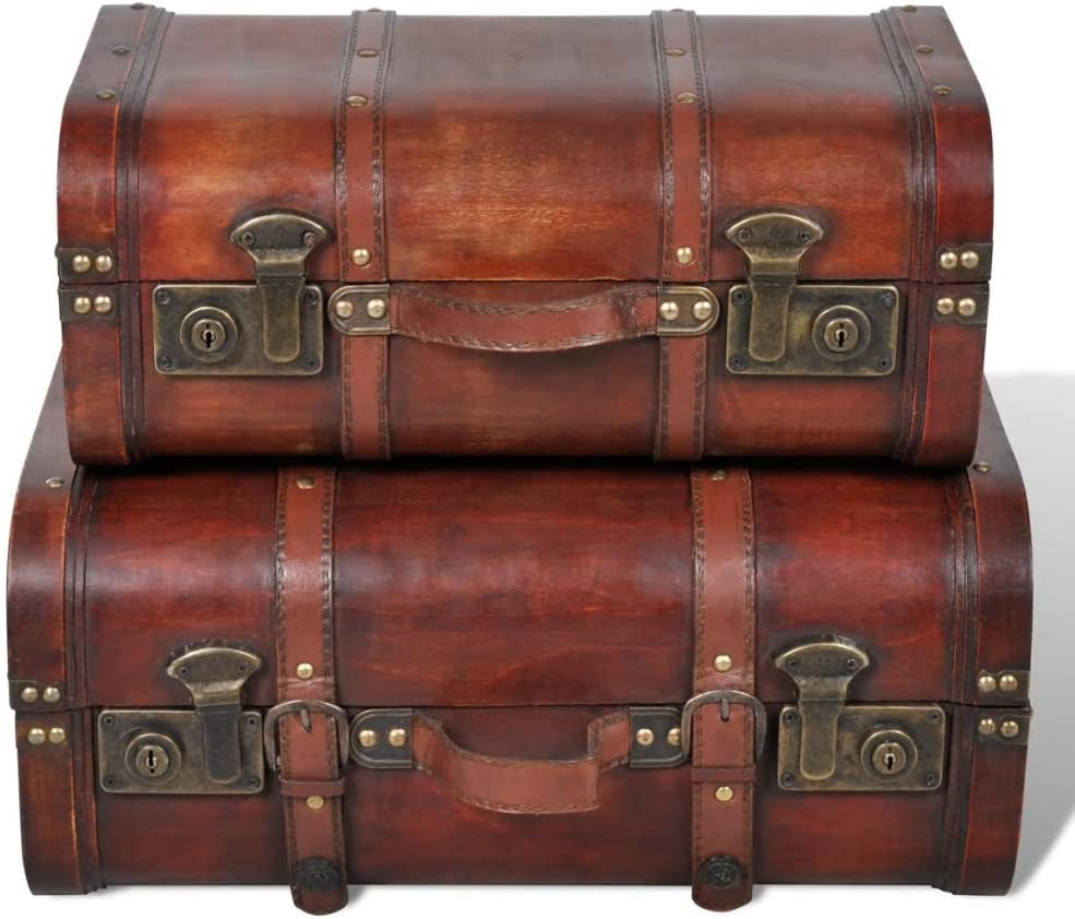 Wood Storage Trunk, 2Pcs Vintage Retro Wooden Treasure Chest with Straps Clothes Storage Box Organizer Decorative Footlocker for Bedroom Or Living Room