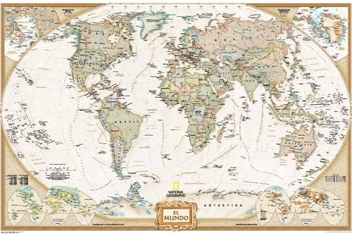Mapa mural del mundo executive grande. 140x100cm. Español ...