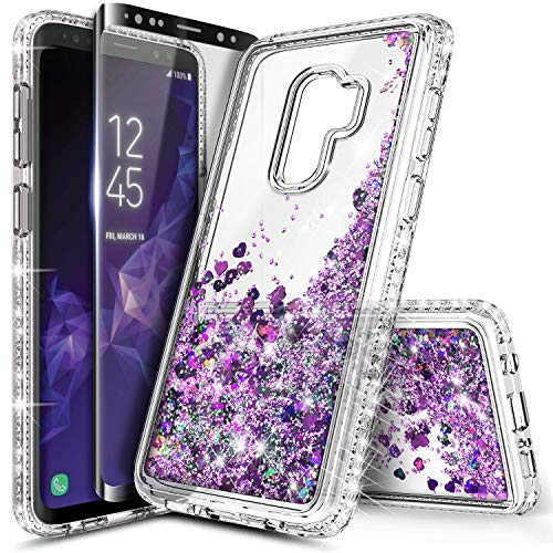 - Galaxy S9 Plus Case w/[Full Cover Screen Protector Premium Clear], NageBee Glitter Liquid Quicksand Waterfall Flowing Sparkle Bling Diamond Cute Case Designed for Samsung Galaxy S9 Plus -Purple