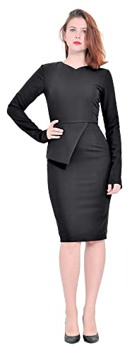 Marycrafts Womens Lady Work Office Business Long Sleeve Pencil Dress