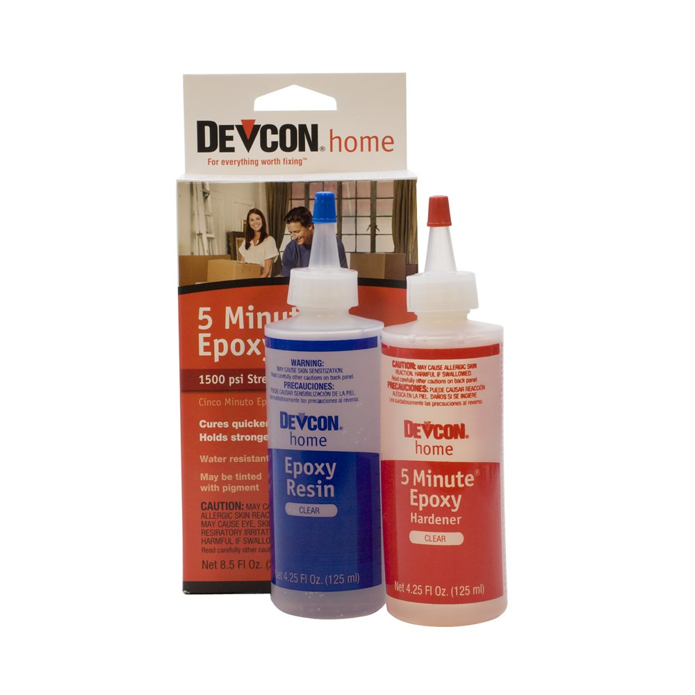 Devcon Epoxy, 5 Minute Epoxy, 2 Bottles Net 8.5 fl oz (250ml) by EuroTool (Image #1)