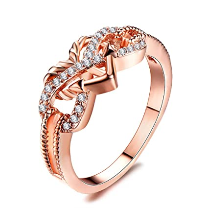 Amazon Com Bkk Silver Rings Fashion White Sapphire Infinity Love