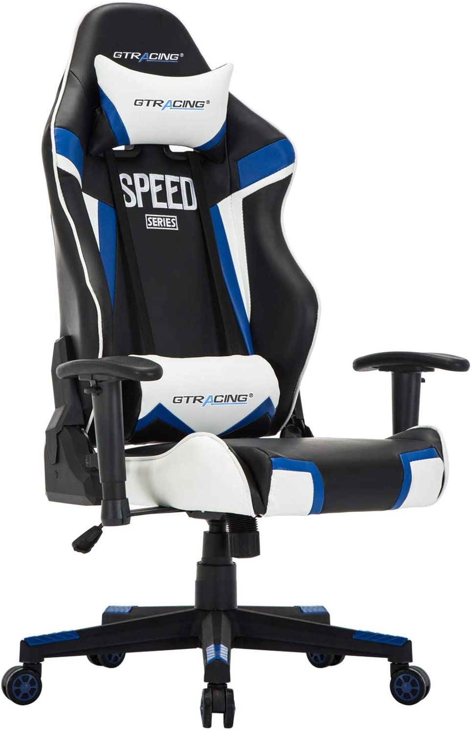 GTracing Gaming Chair Racing Office Chair High Back PU Leather Computer Desk Chair Executive and Ergonomic Swivel Chair with Headrest and Lumbar Support Blue