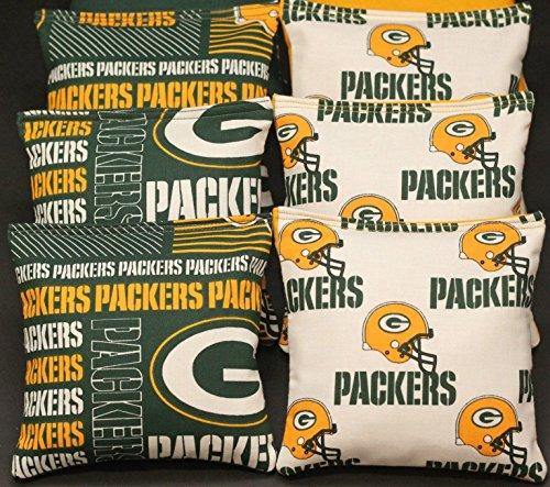 BackYardGamesUSA 8 Cornhole Bean Bags Made w Green Bay Packers Fabric Logo Bags (Green Bag Toss Bean Bay)