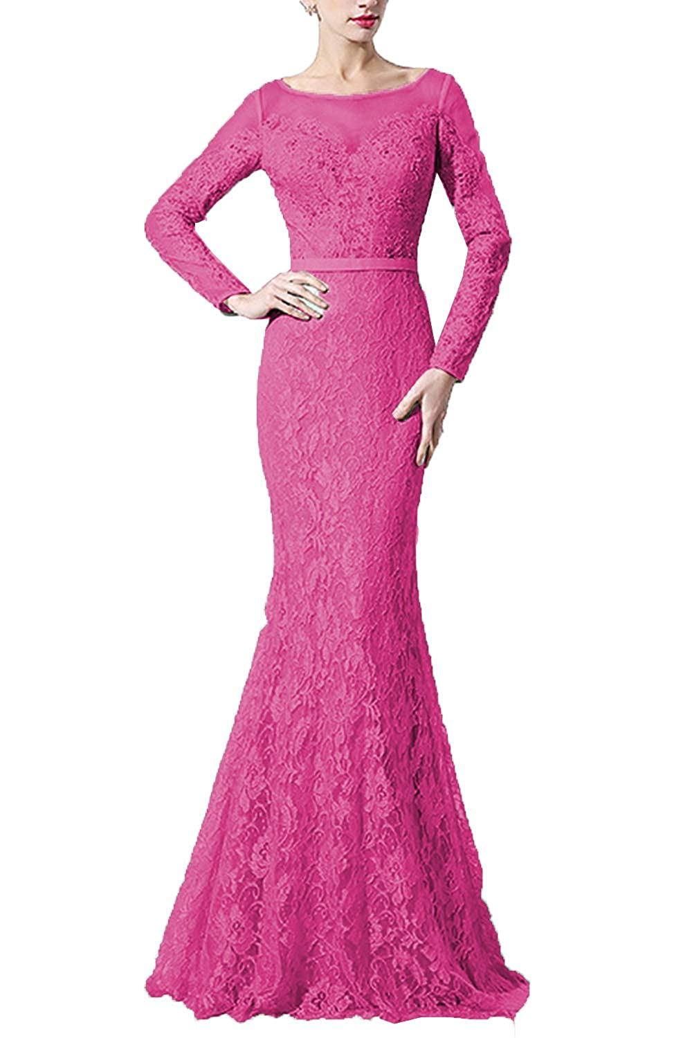 Hot Pink SDRESS Women's Lace Mermaid Evening Dress with Sleeves Crystal Beaded Formal Dress Long