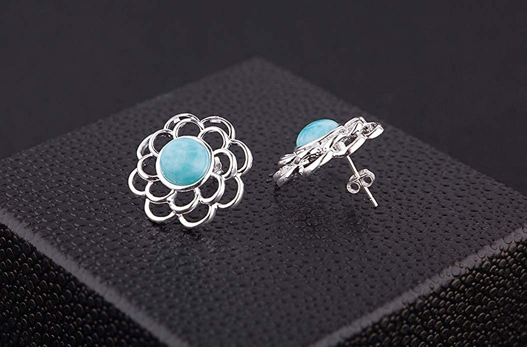 925 Sterling Silver Larimar Stud Earrings 14k White Gold Plated Women Jewelry Natural Gemstone Earrings for Women and Girls