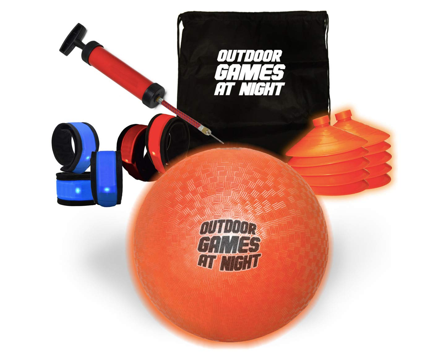 Outdoor Games At Night - LED Kickball, Cones, and Armbands. Better Than Glow in The Dark!