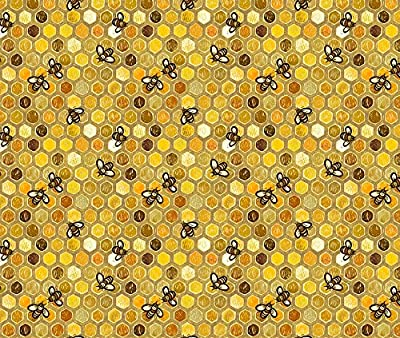Woodcut Style Fabric Honeycomb Hive by Stitchyrichie Printed on by the Yard by Spoonflower