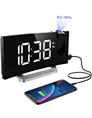 Mpow Projection Alarm Clock, Digital Radio Alarm Clock with Dual Alarms, Adjustable Brightness for Screen and Projection, 4 Alarm Sounds, 9-Minute Snooze Function, Sleep Timer and FM Radio