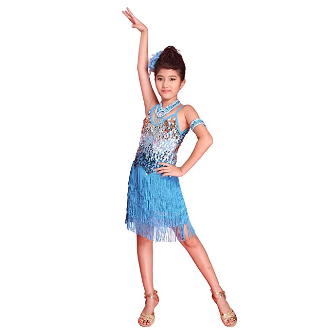 BOBORA Ninos Ninas Cuentas Lentejuelas Latina Tango Salon De Baile Salsa Vestido Flecos Borla Falda Latina Traje De La Danza: Amazon.es: Ropa y accesorios