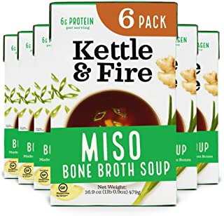 product image for Miso Soup with Chicken Bone Broth by Kettle and Fire, Pack of 6, Paleo Diet, Gluten Free Collagen Soup on the Go, 11g of protein, 16.9 fl oz