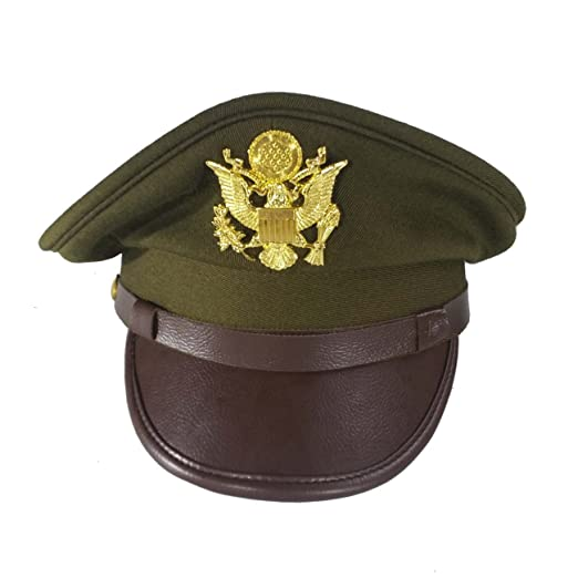 36bb36ee75d Amazon.com  WW2 WWII US Officer Hat with Gold Eagle Badge Costumes  Reproduction  Clothing