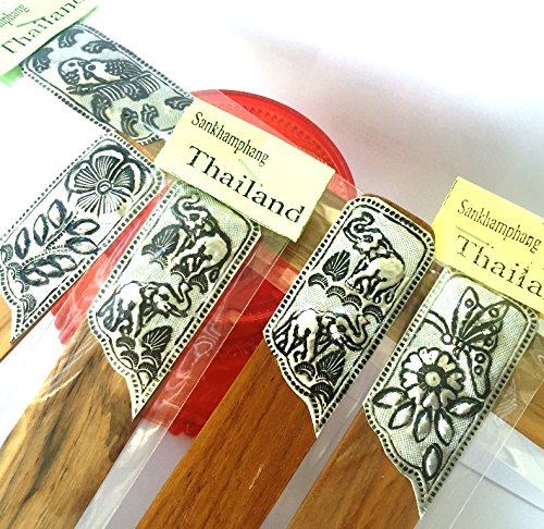 Bookmarks Lanna Chiang Mai Rare Vintage Traditional Art from Nickel & Wood Handmade Design From Thailand (5 pcs.) (Aztec Bookmark)