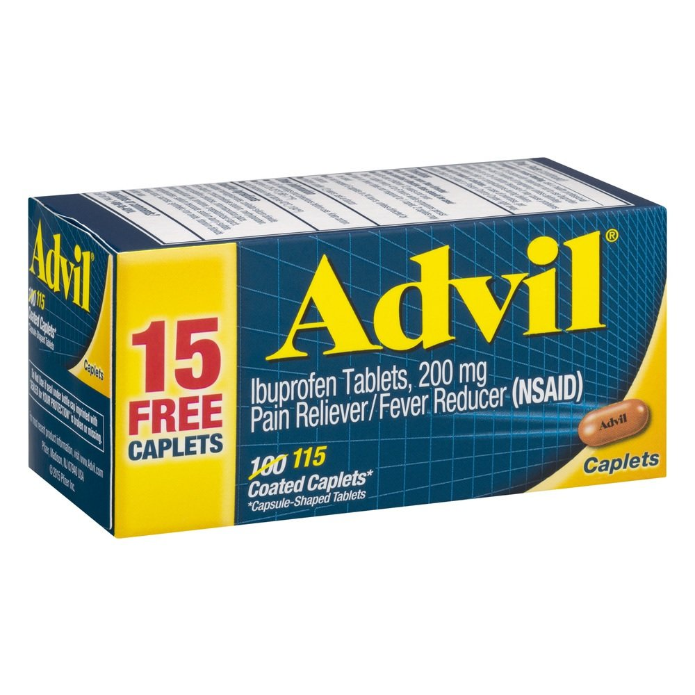 Advil 200mg, 115 Coated Caplets Per Bottle (Pack of 12)