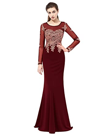 Belle House Womens Long Sleeve Sheer Neck Ball Gown Stretchy Lycra Crepe Burgundy Prom Dresses