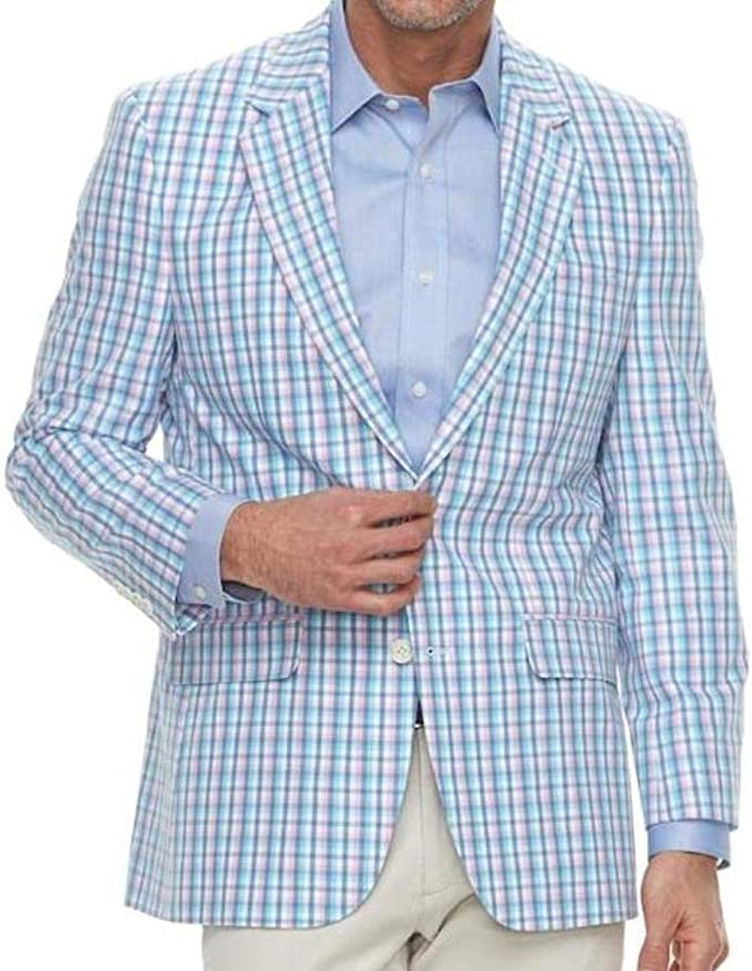 What to Wear to a Horse Race Track - Barrow Men's Classic-Fit Pink Blue Sport Coat Blazer