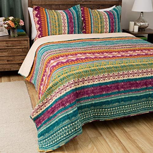 3 Piece Beautiful Colorful Blue Purple Pink Green Full Queen Quilt Set, Rainbow Striped Bohemian Themed Reversible Bedding Cottage Cabin Tie Dye Aqua Lavender Turquoise Gold Boho Vivid Bright, - Stripes Rainbow Comforter