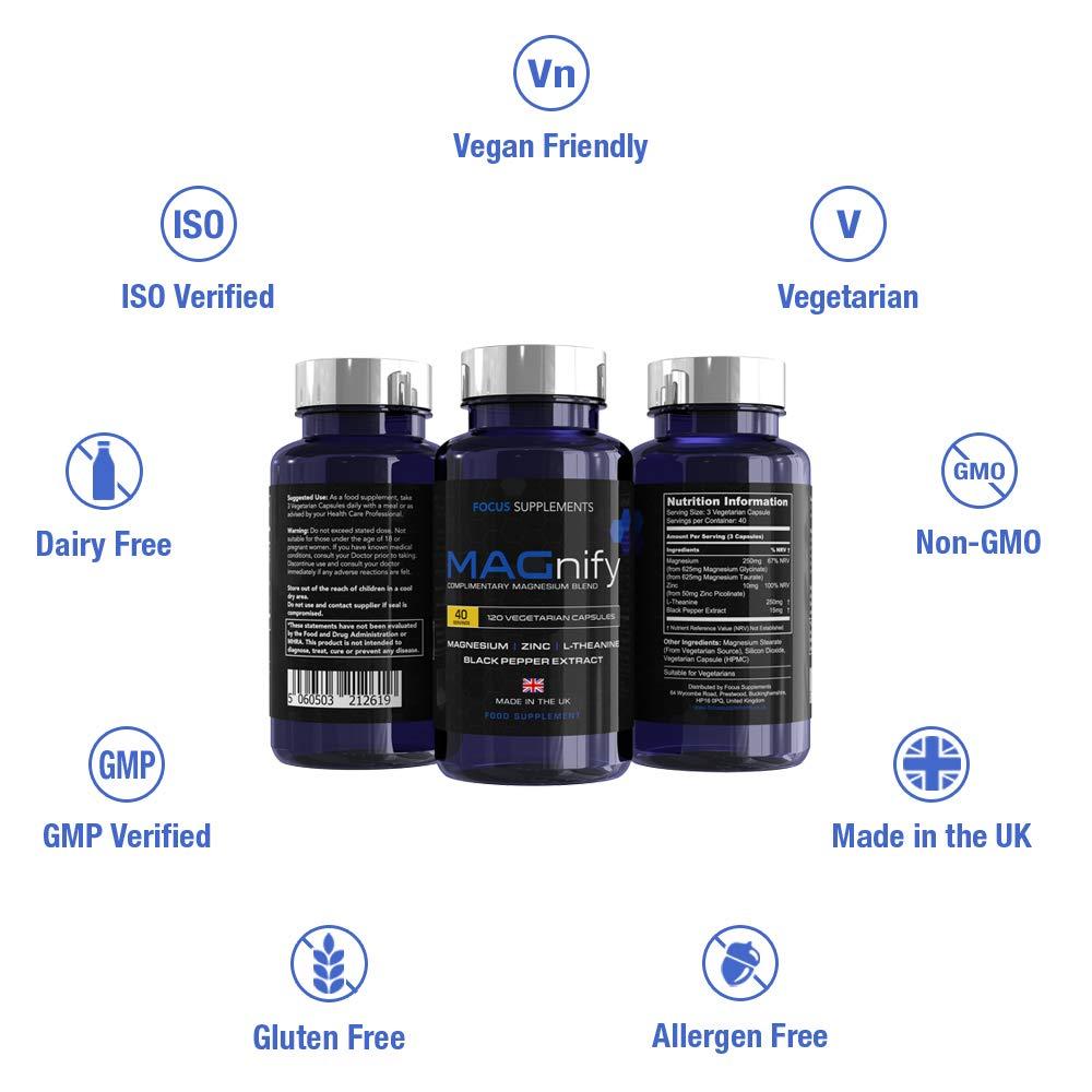 MAGnify - Complemento de Magnesio - 5-en-1 Suplemento con Glicinato de Magnesio, Taurato de Magnesio, Teanina, Zinc y Extracto de Pimienta Negra para una ...
