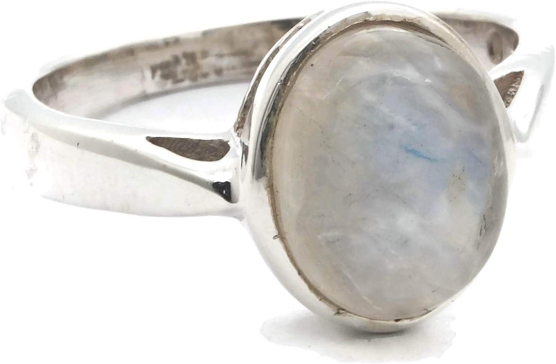 Anillo de plata de ley 925 Piedra de luna (No: MRI 166)