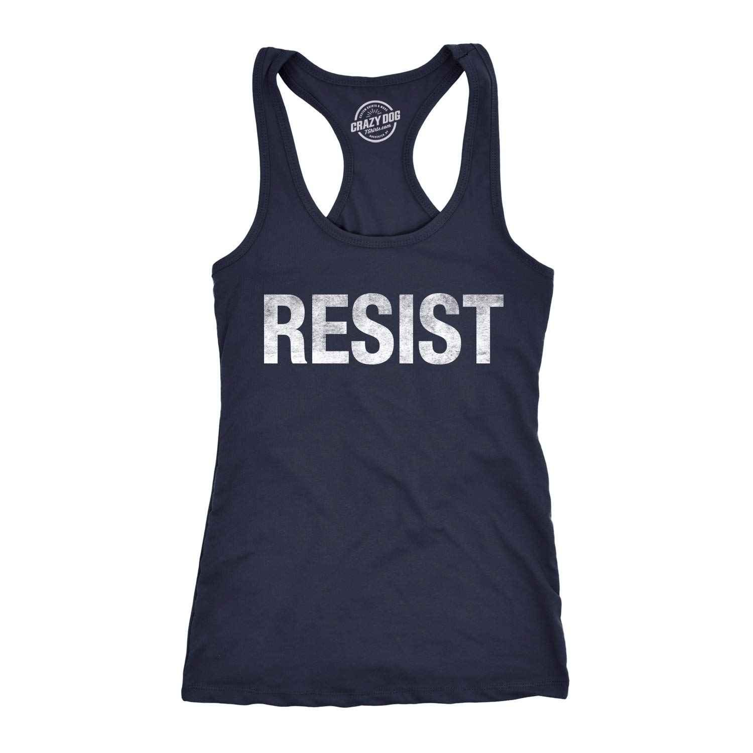 Womens Resist Tee United States of America Protest Rebel Political Fitness Tank Top Crazy Dog Tshirts Divertente Donna Canotta
