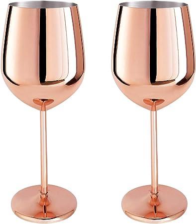 Magicpro Acier inoxydable 1810 verres à vin, Lot de 2, Or Rose