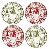 Certified International Winter Field Notes  6'' Toile Canape Plates, Set of 4, 2 Assorted Designs