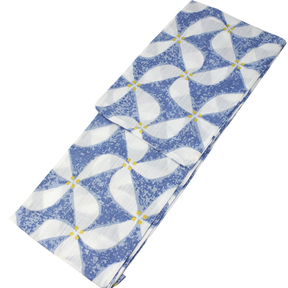 Japanese Summer Kimono Yukata Dress Light blue Windmill Tall size Cotton Weave