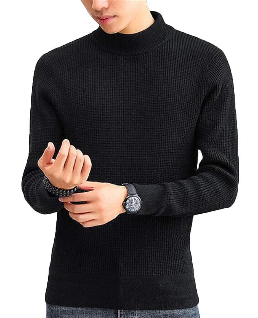 JXG Men Solid Color Pullover Turtleneck Long Sleeve Knitted Slim Fit Sweater