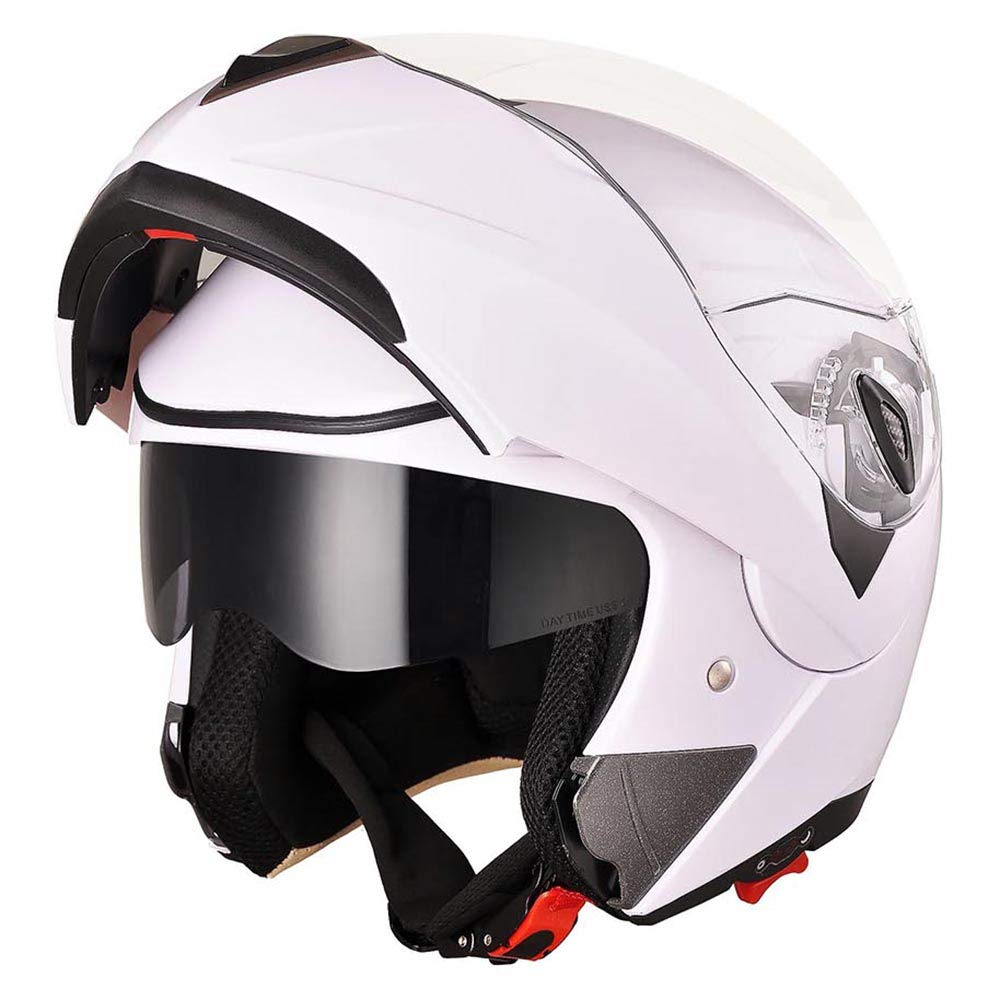 AHR Full Face Flip up Modular Motorcycle Helmet DOT Approved Dual Visor Motocross White XL by AHR