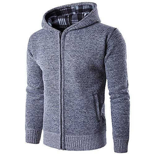 iYBUIA Mens' Autumn Winter Pure Long Sleeve Casual Hoodie Pullover Fleece Outwear Tops(Gray,XL)