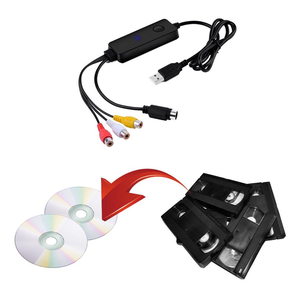 USB Video Capture Device, Easy-Link USB 2 0 Video Grabber Card VHS to DVD  Maker Kit for Mac OS / Windows / Analog to Digital Video Converter / VHS
