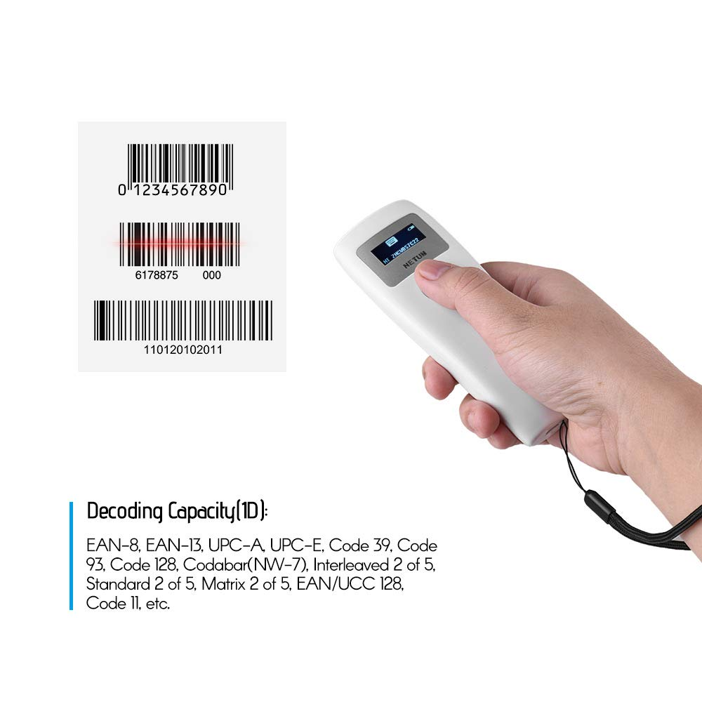 Aibecy Portable Wireless BT /& Wired 1D Barcode Scanner with USB Cable BT Receiver Storage Mode Bar Code Reader for Mobile Payment Computer Screen Works with Windows//Mac//iOS//Android