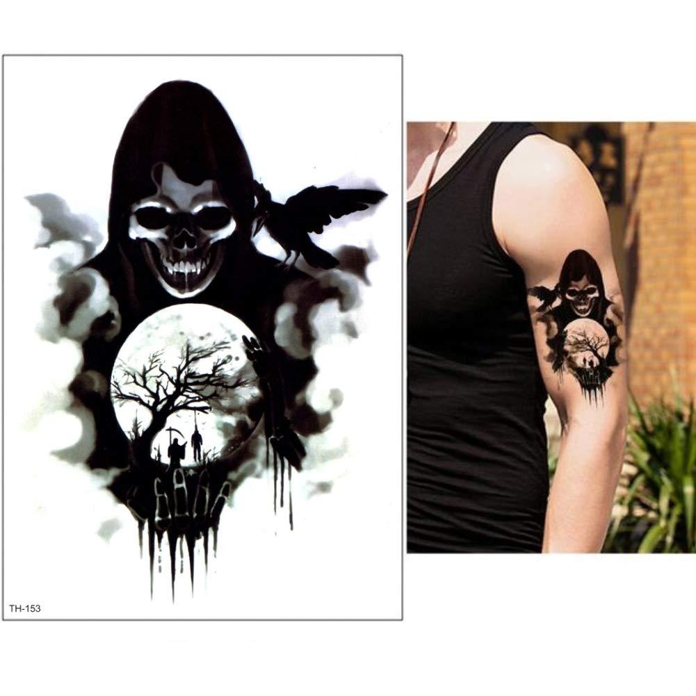 JUSTFOX Tempor/äres Tattoo Galgen Sensenmann Rabe Kr/ähe Design Temporary Klebetattoo K/örperkunst