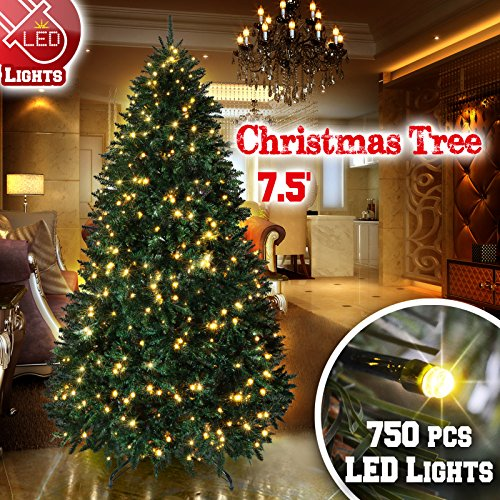 BenefitUSA 6.5' /7' /7.5' Artificial Christmas Tree With Metal Stand Full Tree Xmas Holiday (7.5' With 750 Clear Lights And 2514 Tips) (Ft 6.5 Artificial Tree Christmas)