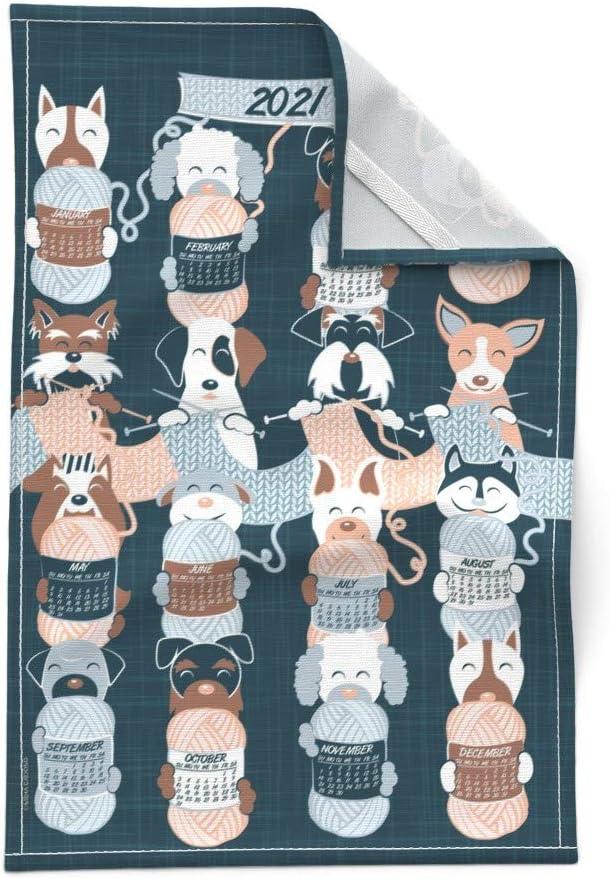 Spoonflower Tea Towel 2020 Calendar Dog Breeds on Blue Linen Cotton