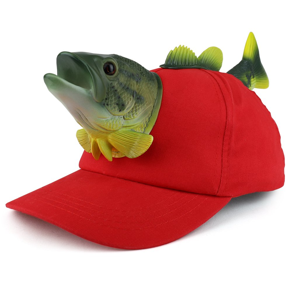Trendy Apparel Shop 3D Bass Fish Front and Back Funny Animal Costume Baseball Cap- Red
