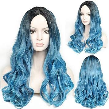 Fyn Mujer Peluca Largo Rizado Degradado Azul Damas De