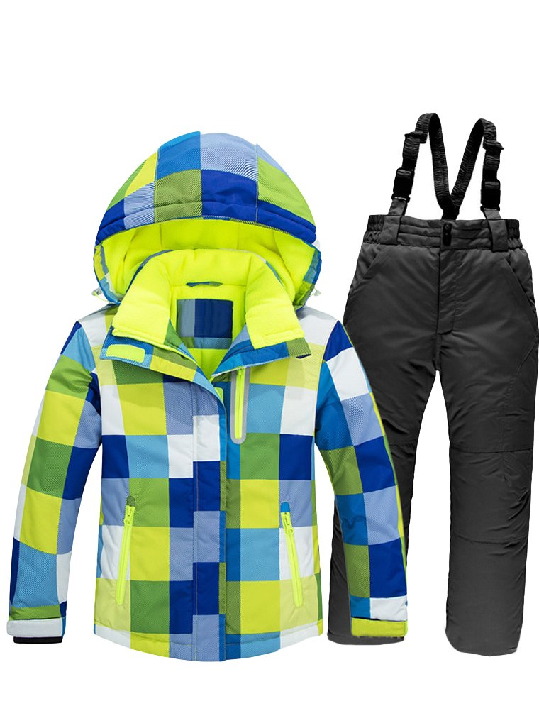 Mallimoda Boy's Girl's Winter Colorblock Ski Jacket 2-Piece Snowsuit Blue 1 Size 6 by Mallimoda