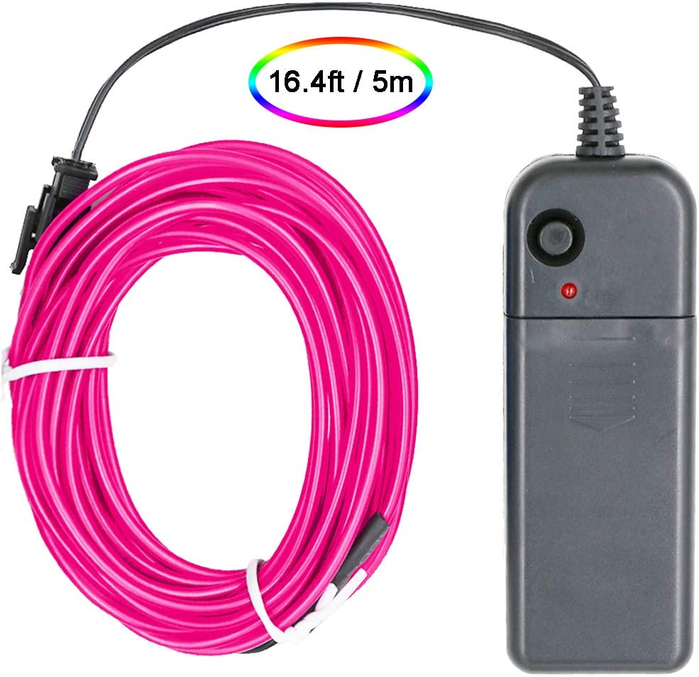 Searik LED Neon Light, 16.4ft/5m Portable EL Wire Glowing Rope Lights LED Strips with Battery Controller for Halloween Decoration, Parties, Festival, DIY, Car, Clothes Decor (Pink)