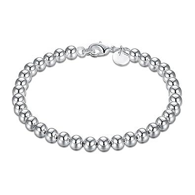 4e56780cda16 Preciosa pulsera de cadena de cuentas de Pulseras perlas Mini silberkanne  chapado 925 de plata de ley de diámetro 60 mm  Amazon.es  Joyería