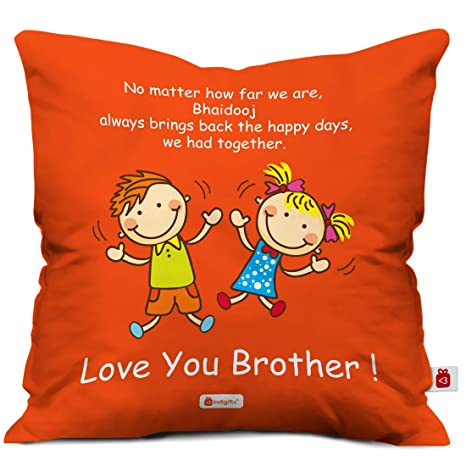 Bhaidooj Happy Diwali Gift Brother Sister Bringing Back Happy Days 12X12 Printed PolySatin, Fibre Cushion Festive Memories Diwali Christmas Birthday Anniversary Everyday Gift Cushion Covers at amazon