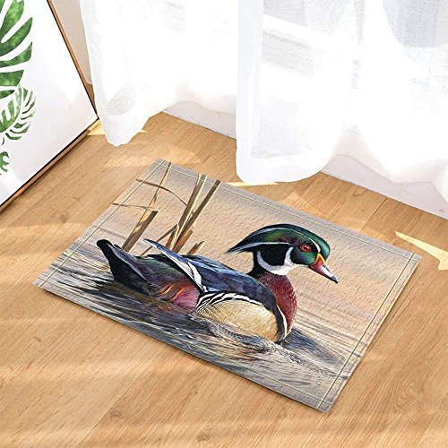 Mandarin Foam (Asian Wildlife Bird Decor Mandarin Ducks Sail in River at Sunset Bath Rugs Non-Slip Doormat Floor Entryways Indoor Front Door Mat Kids Bath Mat 15.7x23.6in Bathroom Accessories)