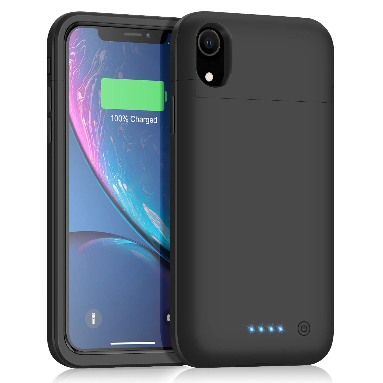 Kioson Battery Case for iPhone XR [5500mAh], Upgraded Portable Charging Case Extended Battery Pack for iPhone XR Charger Case (6.1 inch)- Black