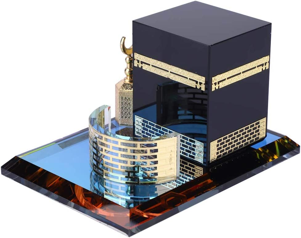 Hztyyier 3D Mosque Architecture Model Kits Muslim Crystal Gilded Kaaba Three-Piece Model for Home Desktop Decoration Gifts